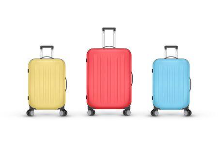 リアルなプラスチック製スーツケースのセット。白い背景に隔離された旅行バッグ、ベクトルイラスト