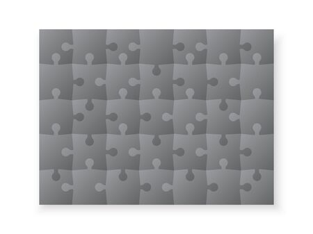 Set of jigsaw puzzle templates. Many puzzle pieces isolated on white background. Vector illustration 일러스트