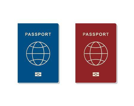 Set of passport. Identity card isolated on white background, vector illustration Çizim