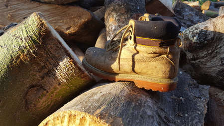 Safety shoes for field workers such as carpenters, chain saws, and so on. Good safety standards can minimize workplace accidents 写真素材