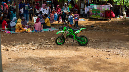 Ponorogo, Indonesia- 01012020: Mini dirt bike at the rental location, one of the educational games to train motor nerves and balance in driving