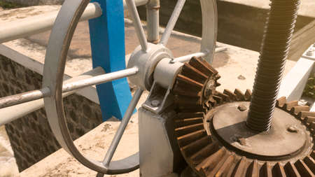 The surface of a gear wheel in a dams water discharge regulator machine