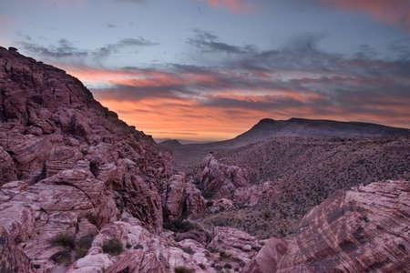basin mountain: Sunrise over a rock basin at Red Rock Canyon in Nevada.
