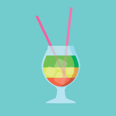 cocktail yellow green and red with straw Illusztráció