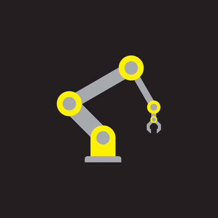 robot arm: yellow-gray robot arm icon flat style on black background Illustration