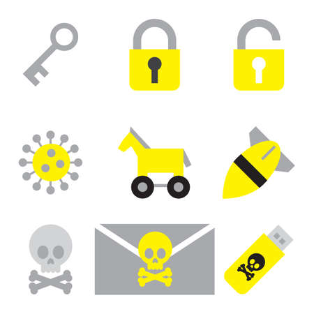 email bomb: computer security icon set flat style