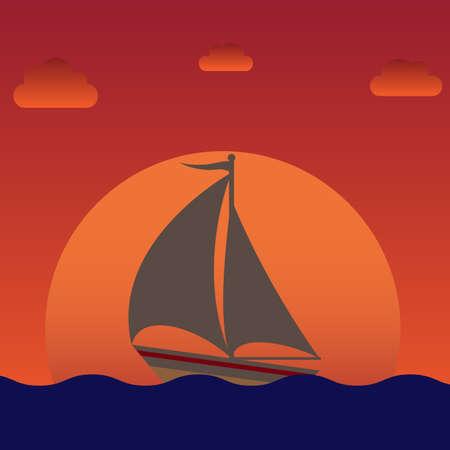 sailboat: sailboat silhouette over sunset or sunrise