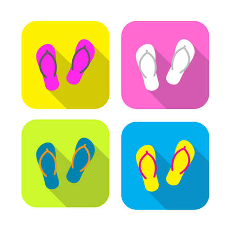 rounded rectangle: colorful slippers flat icon with long shadow on rounded rectangle background Illustration