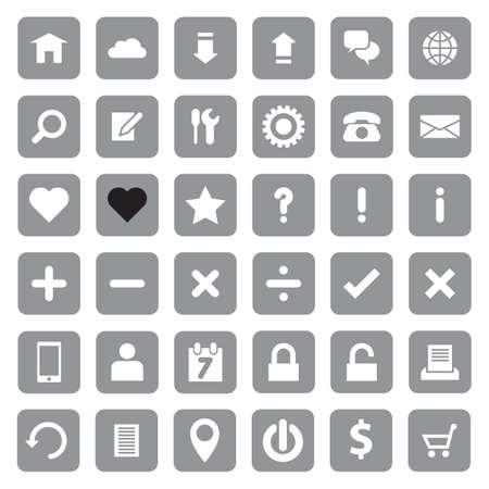 rounded rectangle: Web icon set on gray rounded rectangle