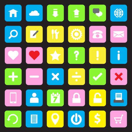 rounded rectangle: Web icon set on colorful rounded rectangle Illustration