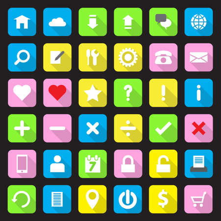 rounded rectangle: Web icon set on colorful rounded rectangle with long shadow Illustration