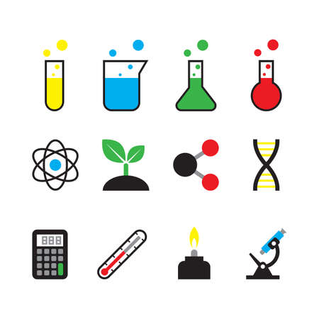 bunsen burner: science object icon set