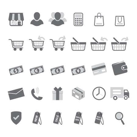 gray: gray shopping icon set