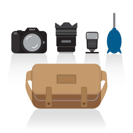 basic: basic things in camera bag Illustration