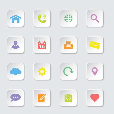 rectangle button: colorful web icon set on white rounded rectangle button with soft shadow
