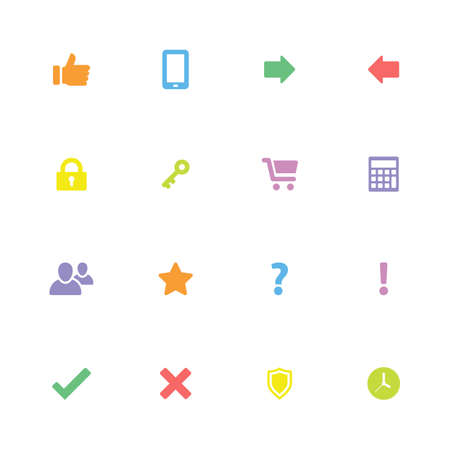 shopping questions: Colorful simple flat icon set 2 - for web design, user interface ui, infographic and mobile application Illustration