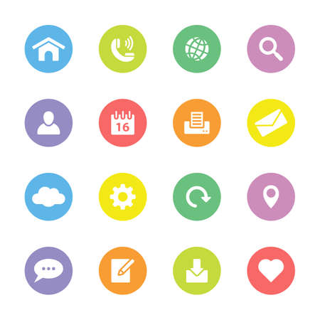 Colorful simple flat icon set 1 on circle - for web design, user interface UI, infographic and mobile application Illusztráció