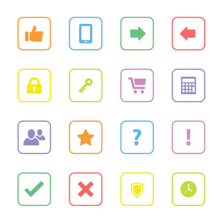 rounded rectangle: Colorful simple flat icon set 2 with rounded rectangle frame - for web design, user interface ui, infographic and mobile application