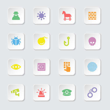 colorful flat icon set 7 on white rounded rectangle button with soft shadow for web design, user interface UI, infographic and mobile application apps