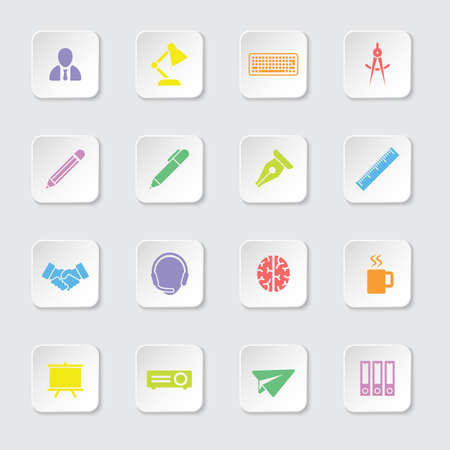 rectangle button: colorful flat icon set 8 on white rounded rectangle button with soft shadow for web design, user interface UI, infographic and mobile application apps