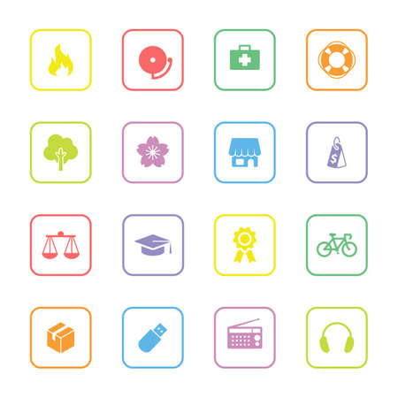 miscellaneous: colorful flat safety and miscellaneous icon set with rounded rectangle frame for web design, user interface UI, infographic and mobile application apps Illustration