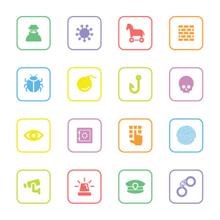 colorful flat security icon set with rounded rectangle frame for web design, user interface UI, infographic and mobile application apps