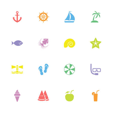 watermelon boat: colorful simple flat beach and summer icon set for web design, user interface UI, infographic and mobile application apps