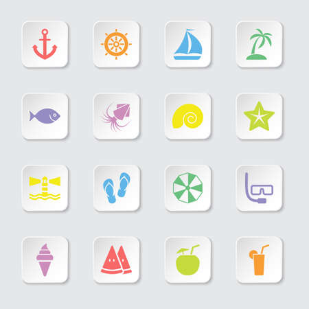 rounded rectangle: colorful flat beach and summer icon set on rounded rectangle button for web design, user interface UI, infographic and mobile application apps
