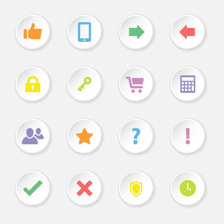 miscellaneous: colorful flat computer and miscellaneous icon set on circle button for web design, user interface UI, infographic and mobile application apps