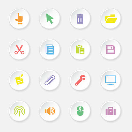 case binder: colorful flat computer and technology icon set on circle button for web design, user interface UI, infographic and mobile application apps