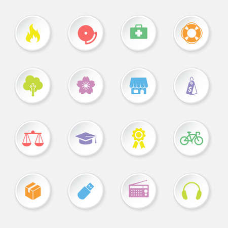 miscellaneous: colorful flat safety and miscellaneous icon set on circle button for web design, user interface UI, infographic and mobile application apps Illustration