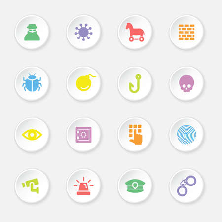colorful flat security icon set on circle button for web design, user interface UI, infographic and mobile application apps