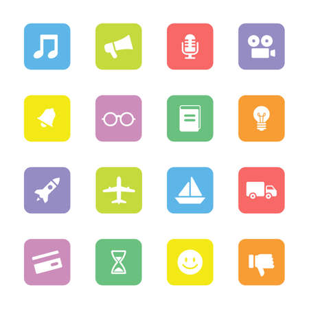 miscellaneous: colorful flat transport and miscellaneous icon set on rounded rectangle for web design, user interface (UI), infographic and mobile application (apps) Illustration
