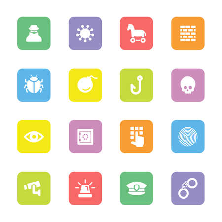 colorful flat security icon set on rounded rectangle for web design, user interface (UI), infographic and mobile application (apps)