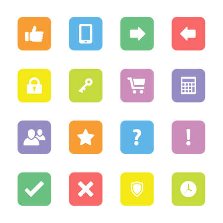 warning back: colorful flat computer and miscellaneous icon set on rounded rectangle for web design, user interface (UI), infographic and mobile application (apps)