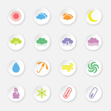 lighting button: colorful flat weather icon set on circle button for web design, user interface (UI), infographic and mobile application (apps)