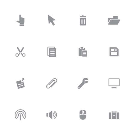case binder: gray simple flat computer and technology icon set for web design, user interface (UI), infographic and mobile application (apps)