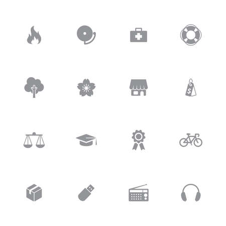 miscellaneous: gray simple flat safety and miscellaneous icon set for web design, user interface (UI), infographic and mobile application (apps)