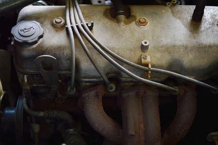 dirty car: old dirty car engine