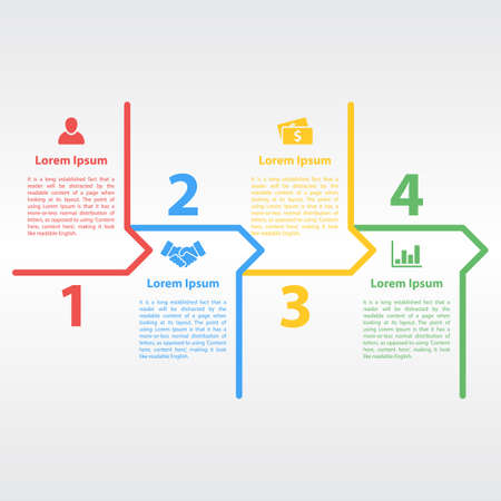 project plan: four steps sequence infographic layout concept vector illustration