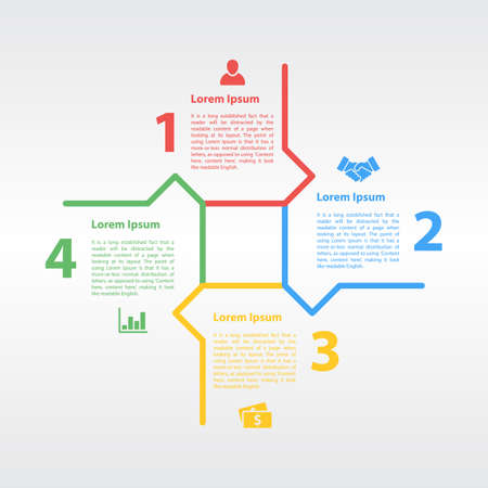 business concepts: four steps sequence infographic layout concept vector illustration