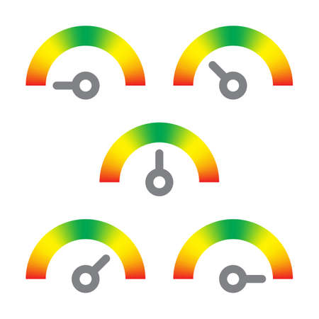 meter signs infographic gauge element from red to green to red vector illustration