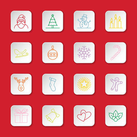 santa sleigh: Christmas and new year icon set vector illustration - colorful outline on white rounded rectangle button