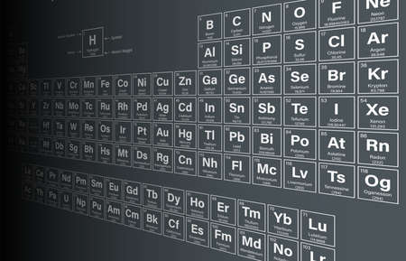 periodic table of the elements: Periodic Table of the Elements Vector Illustration - shows atomic number, symbol, name and atomic weight - including 2016 the four new elements Nihonium, Moscovium, Tennessine and Oganesson