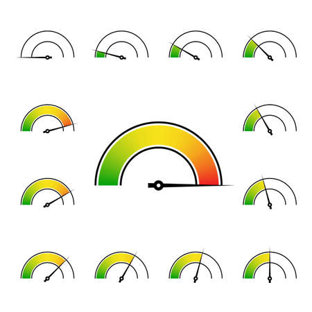 medium: meter signs infographic gauge element from green to red vector illustration Illustration