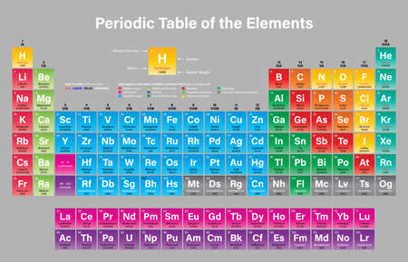 Periodic Table of the Elements Vector Illustration - shows atomic number, symbol, name, atomic weight, state of matter and element category - including the four new elements Nihonium, Moscovium, Tennessine and Oganesson Illustration