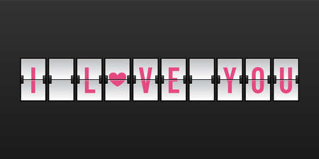 I Love You Vector Illustration in Airport Flip Board