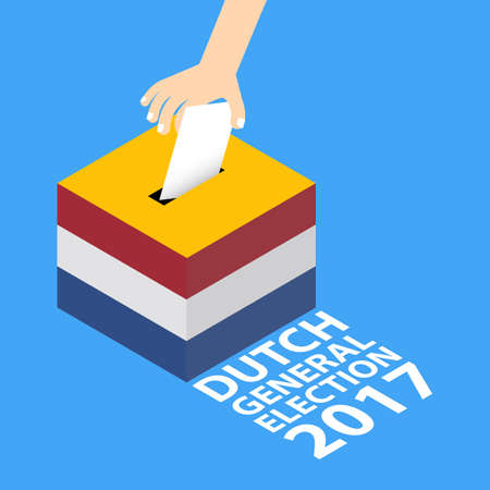Dutch General Election 2017 Illustration Flat Style - Hand Putting Voting Paper in the Ballot Box.