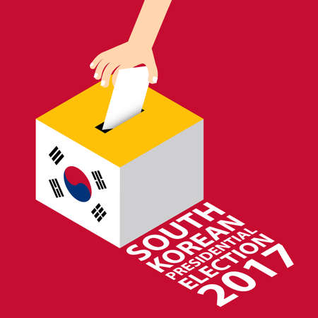 South Korean Presidential Election 2017 Illustration Flat Style - Hand Putting Voting Paper in the Ballot Box. Illustration
