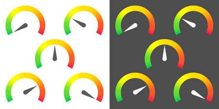 meter signs infographic gauge element fron green to red vector illustration Stock Illustratie
